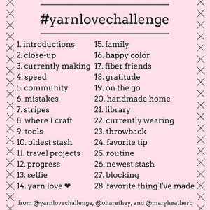 Yarn Love Challenge Schedule