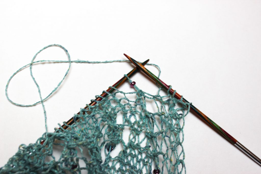 Beaded knitting: how to apply beads using a crochet hook