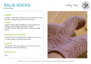 Pattern Writing & Selling Knitting Patterns: Salis Socks (2018 version)